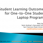 Student Learning Outcomes for One-to-One Student Laptop Programs – LLI 2009