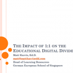 The Impact of 1-to-1 on the Educational Digital Divide – LLI 2011