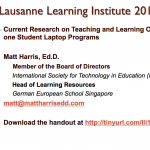 Current Research on Teaching and Learning One-to-one Student Laptop Programs – 2013 LLI