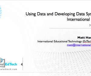 Using Data and Developing Data Systems in International Schools – NESA 2016