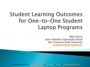 Student Learning Outcomes for One-to-One Student Laptop Programs - LLI 2009