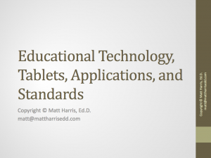 Educational Technology, Tablets, Applications, and Standards - 2013 AES