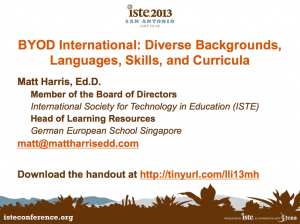 BYOD International – Diverse Backgrounds, Languages, Skills, and Curricula – LLI 2013