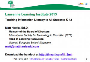 Teaching Information Literacy to All Students K-12 – 2013 LLI