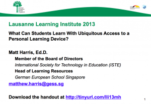 What Can Students Learn With Ubiquitous Access to a Personal Learning Device – 2013 LLI