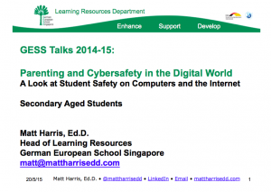 Parenting in the Digital World -  Secondary School - 2015 GESS Talks