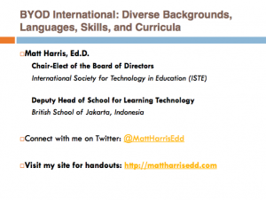 BYOD International - Diverse Backgrounds, Languages, Skills, and Curricula - 2015 Lausanne Learning Institute