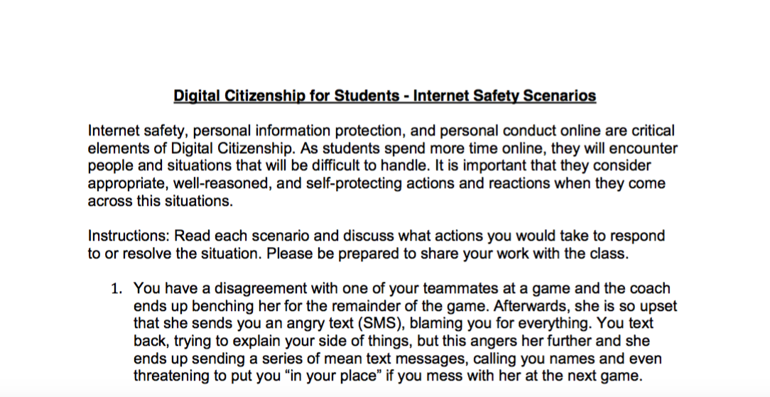 Internet Safety Scenarios For Middle And High School