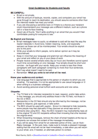 Email Guidelines for Students and Faculty