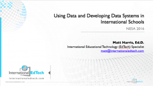 2016 NESA - Using Data and Developing Data Systems in International Schools
