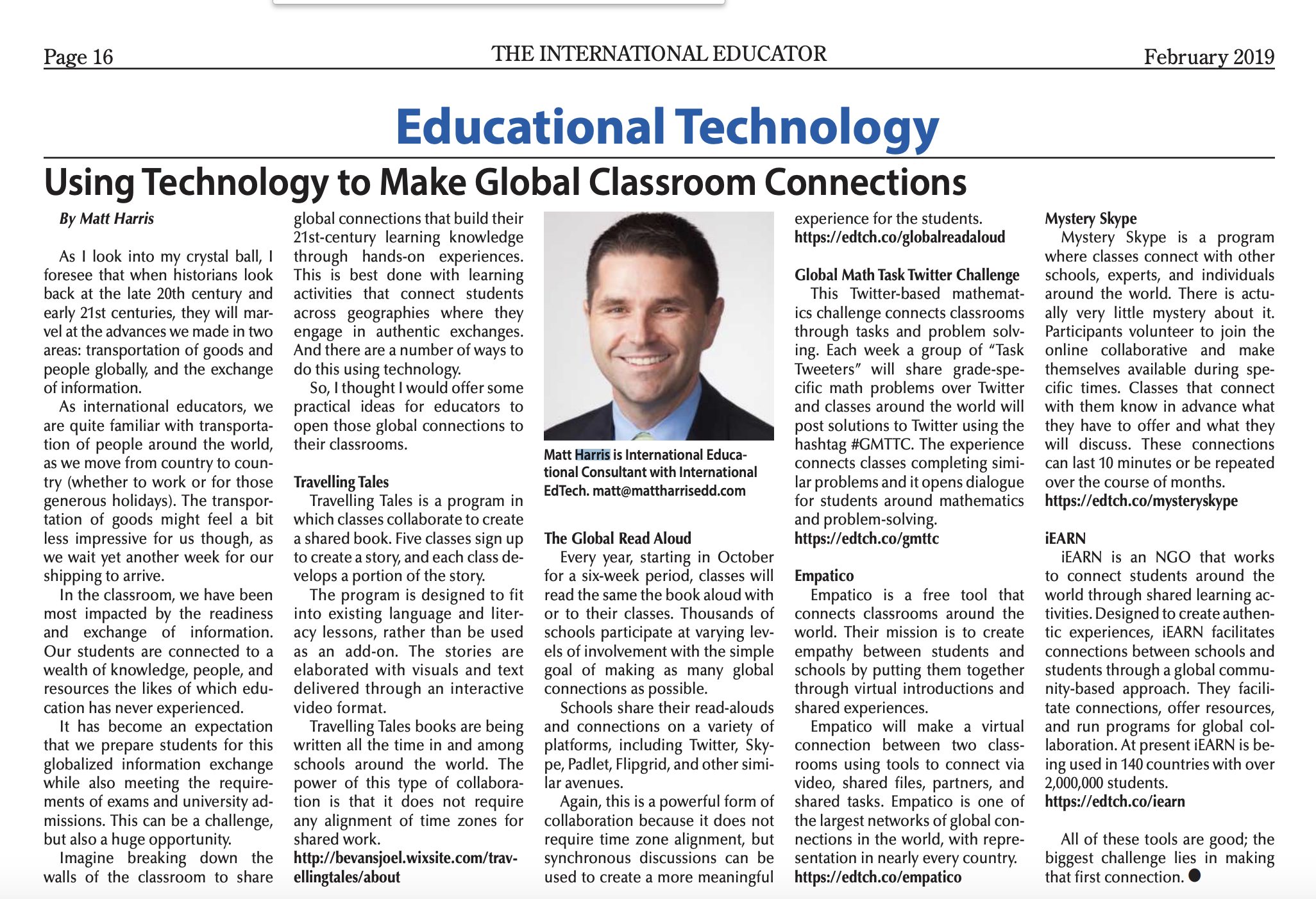 Using Technology to Make Global Classroom Connections - TIEOnline