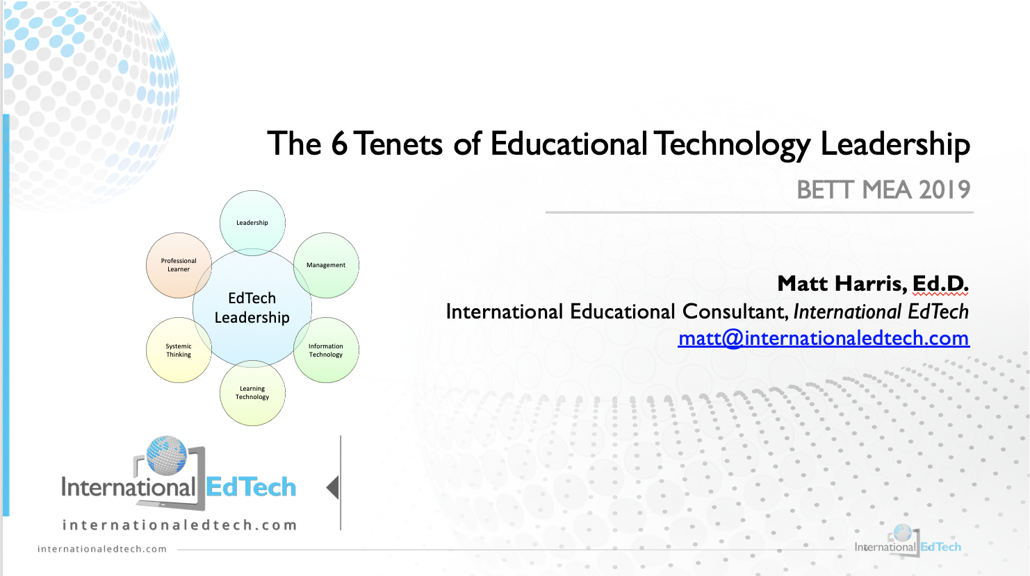 The 6 Tenets of Educational Technology Leadership - BETT MEA 2019